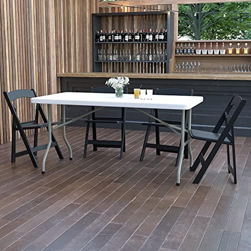 Flash Furniture Klapptisch für 6 Personen – Vielseitiger Arbeitstisch aus Kunststoff – Wasserfester und schmutzabweisender Campingtisch für drinnen und draußen – Weiß