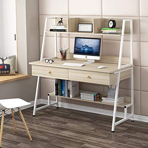 Escritorio De Oficina En Casa, Escritorio para Computadora, 2 CajóN, Madera Sostenible Mesa De La Oficina Estudiantil, Simple Escritorio, Mesa De Oficina, Escritorio,Beige