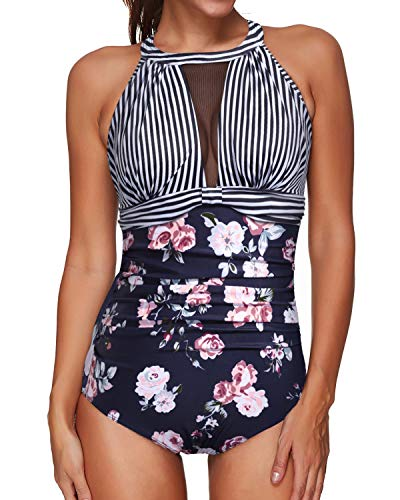 Tempt Me Women One Piece Swimsuits Black Striped Floral Plunge V-Neck Mesh Ruch Swimwear XL