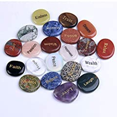 21 Different Words of inspiration and encouragement. Words engraved onto different natural stones,the size of each stone is approx: 1.8''x1.4''x0.3''. Different natural stones carry different energies. You will feel very great to hold it in your hand...