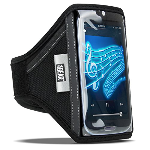 USA Gear Smartphone Fitness Armband with Flexible Neoprene, 2 Adjustable Arm Sizes, Touch Sensitive Screen and Credit Card + Key Slots Works with Samsung Galaxy S8, S7, S6 Edge, Note 4 & More