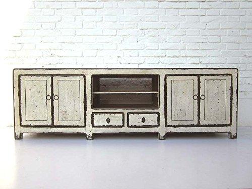 Luxury-Park Meuble bas en pin style shabby chic pour TV écran plat Blanc vieilli