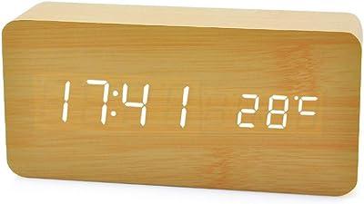 Despertador Digital, Leeron Reloj Digital de Madera con 3 ...