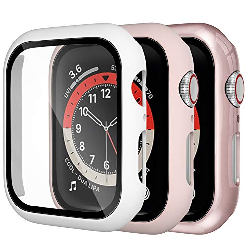Dirrelo 3 Pack PC Case Compatible with Apple Watch Series 6/5/4/SE 44mm Tempered Glass Screen Protector, Full Cover Thin All-Around HD Protective Bumper Case for iwatch 6/5/4, White/Pink/Rose gold