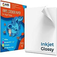 インクジェットプリンター用印刷可能なビニールステッカーペーパー - 光沢ホワイト - 15枚の粘着シート- 防水デカールペーパー - 標準レターサイズ 8.5インチ x 11インチ