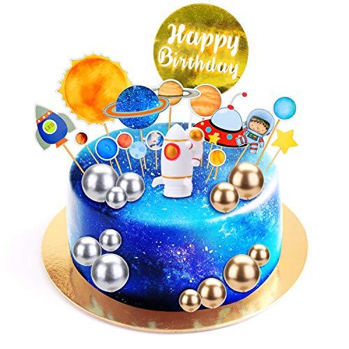 KATELUO Kuchendecoration,Geburtstagdeko Kuchendecoration,Weltraum Cupcake Toppers Planet Party für Weltraum Party Kinder Planeten Geburtstag Party Cake Toppers
