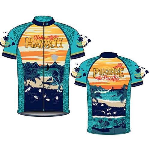 CANARI Men's Souvenir Cycling/Biking Jersey, Hawaii Retro, Large