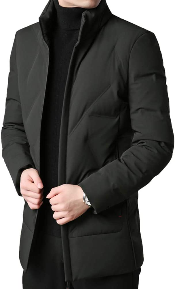 Down jacket Medium Long, Middle-Aged Men's Collar Collar Thick Warm Casual Jacket, Filler: 80% Grey Duck Down (Size: M, L, XL, 2XL, 3XL)
