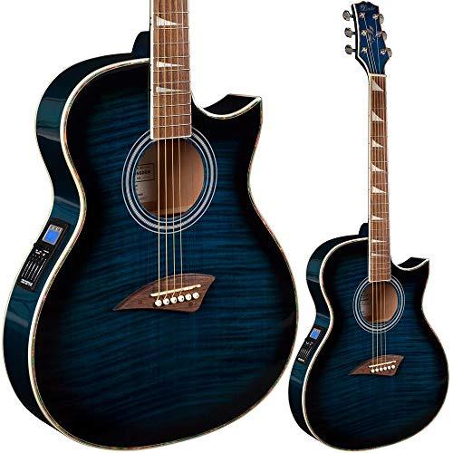 Lindo ORG-SL Elektro-Akustikgitarre, schlank, mit Vorverstärker und LCD-Tuner, Blau