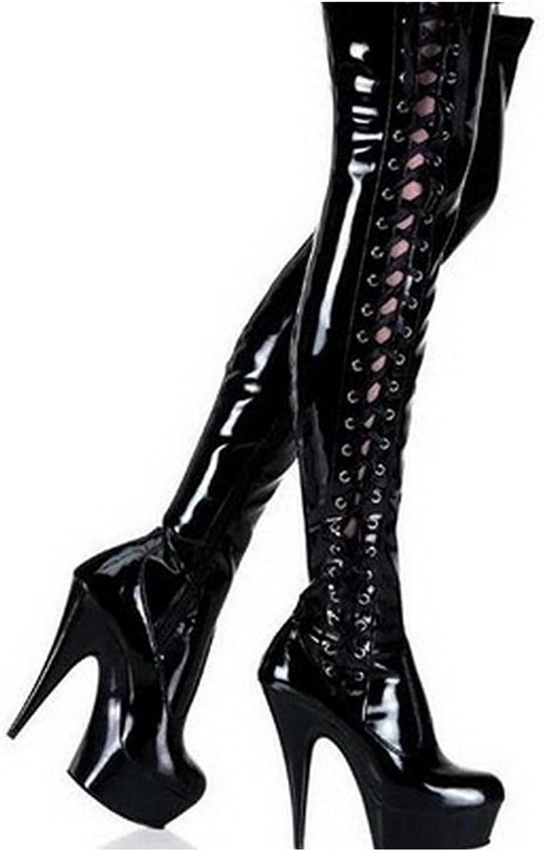 Extreme High Heel 15cm Sommer High Heels Stiefel High Heel Sexy Oberschenkel hohe Schwarze Patent Lace Up Gogo Style Aufladungen für Frauen