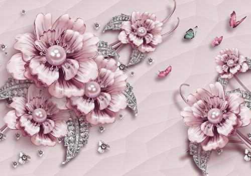 wandmotiv24 Fototapete Rosa Blumen XXL 400 x 280 cm - 8 Teile Fototapeten, Wandbild, Motivtapeten, Vlies-Tapeten Luxus, Blüten, Diamanten M1646