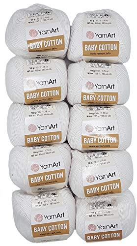 10 x 50g Strickwolle YarnArt Baby Cotton mit 50% Baumwolle, 500 Gramm Wolle einfarbig (weiß 400)