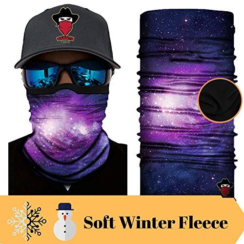 Bandits Team I Bedrucktes Multifunktionstuch I Face Shield aus Mikrofaser- fürs Motorrad-, Fahrrad- und Skifahren I Farbe: Fleece-Galaxy I 1er Pack mit Soft Winter-Fleece