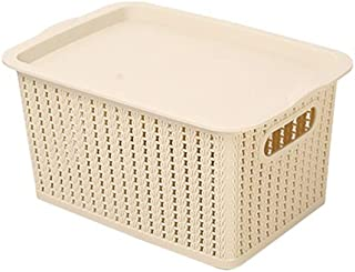 Household Large Rattan Plastic Storage Basket Student Desktop Storage Box Clothes Storage Storage Box(Size:28.5 * 20 * 15cm) (Color : Beige, Size : 28.5 * 20 * 15cm)