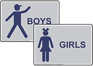 Girls Boys Bathroom Signs 2-Piece Set, 7x5 inch Silver Plastic for Restrooms by ComplianceSigns