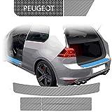 BLACKSHELL Protector de borde de carga y umbral, incluye rasqueta prémium para 508 1 SW (familiar) 2010 – 2014 Carbon Silver – Lámina protectora de pintura a medida