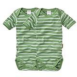 wellyou, 2er Set Kinder Baby-Body Kurzarm-Body, grün weiß gestreift, Geringelt, Feinripp 100% Baumwolle, Größe 116-122