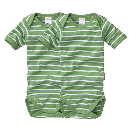 wellyou, 2er Set Kinder Baby-Body Kurzarm-Body, grün weiß gestreift, Geringelt, Feinripp 100% Baumwolle, Größe 50