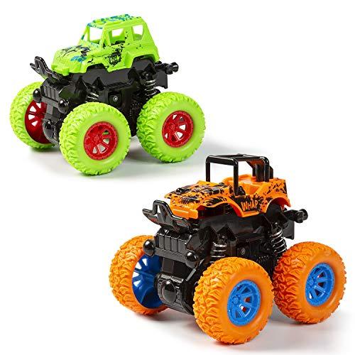 MOOKLIN ROAM 2 Pezzi Inerzia Tirare Indietro Auto, Veicolo Giocattoli Camion Fuoristrada Giocattolo Auto da Corsa con Rotazione a 360 Gradi, Miglior Regalo per Bambini di 3-8 Anni (Colore Casuale)