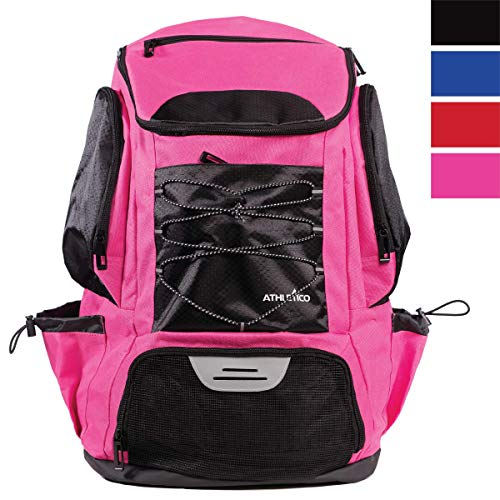 Athletico Schwimmrucksack – Pooltasche mit Nass- und Trockenfächern für Schwimmen, Strand, Camping und mehr (Pink)
