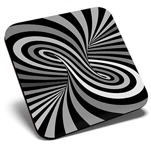 Gran posavasos cuadrado BW – Patrón psicodélico Hippy | Posavasos de calidad brillante | Protección de mesa para cualquier tipo de mesa #42097