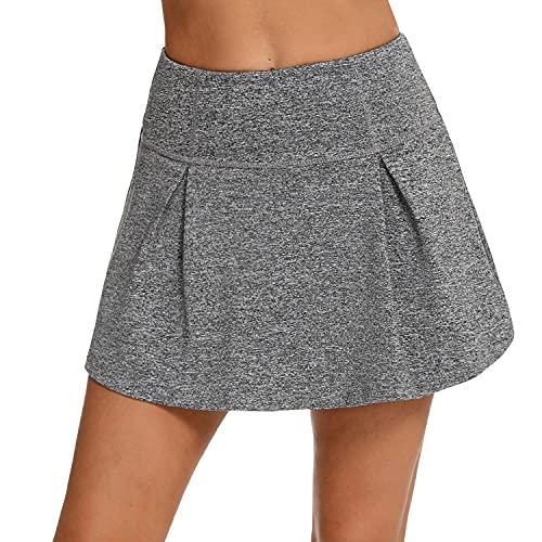 iClosam Faldas Padel Mujer con Buena Elasticidad Falda Plisada Corta para Correr, Tenis y Golf Gris Oscuro L