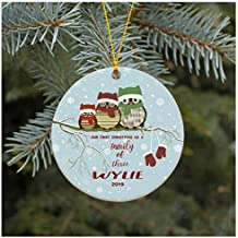 gdrthgtrht Christmas Ornament Our First Christmas As A Family of Three Ornament 2019 Wylie Christmas Tree Ornament 2019 Present Lovely Ceramic Tree Decoration Happy Holidays