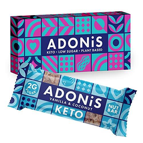 Adonis Low Sugar Nut Bar - Barritas de Coco Crujiente Sabor a Vainillia | 100% Natural, Baja en Carbohidratos, Sin Gluten, Vegano, Paleo, Keto (5)