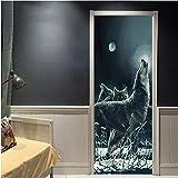 MNJKH Pegatinas de Papel Tapiz para Puerta, Animal Creativo Luna Noche Lobo Pegatinas para Puerta Pintura Papel Tapiz Cartel Etiqueta de la Pared Dormitorio Sala de Estar Decoración para el hogar