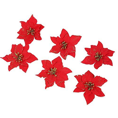 6 Pezzi Scintillare Fiori Artificiali Per La Decorazione, Addobbi Albero Di Natale, Luccichio, Rosso Poinsettia, 13Cm(5.1