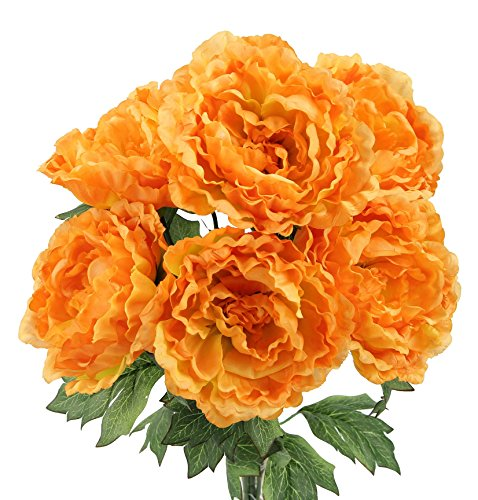 Admired By Nature 7 Stems Faux Full Blooming Peony Flower Bush, Mango