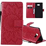 HMTECHUS J4 Core case Sun Flower Embossed Wallet Card Cash Slots Bookstyle PU Premium Leather Magnetic Flip Kickstand Shockproof Ultra-Thin Slim Cover for Samsung Galaxy J4 Core Mandala Red KT