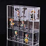 Clear Mounted Acrylic Display Case Organizer Storage Box - 15 Compartments - Sliding Door Dustproof Protection Showcase for Collectibles Mini Figure Action Toys Rock Stone, 11' x 2 19/20' x 10 1/2')