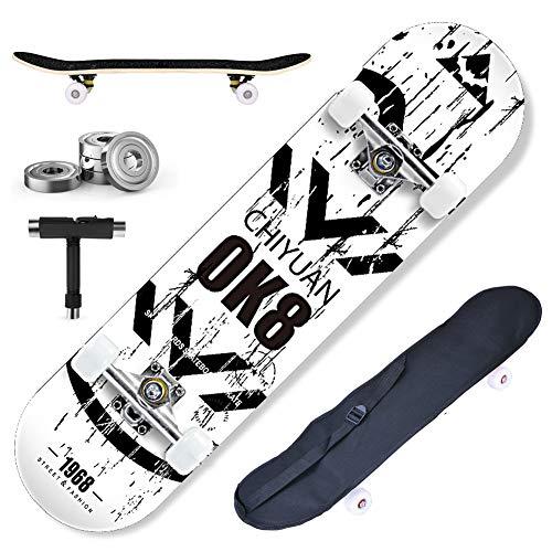 DnKelar Skateboard 79x20cm Holzboard für Anfänger mit ABEC-7 Kugellager 31 Zoll 7-lagigem Ahornholz und 90A Rollen für Kinder, Jugendliche und Erwachsene Komplettboard mit Tasche + T-Tool (Type2)
