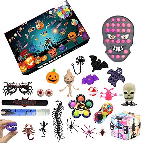 nvIEFE Adventskalendrar 2021 Fidget leksaker pack, 30 dagar halloween nedräkning överraskad persienn låda, glad halloween party gåva (paket C3)
