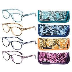 Eyeguard Lesebrille, stilvoll gemusterte Rahmen, modische Damenbrille für Damen, 4 Stück (4 Farben, 1,00)