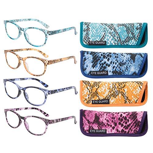 Eyeguard Lesebrille, stilvoll gemusterte Rahmen, modische Damenbrille für Damen, 4 Stück (4 Farben, 2,00)