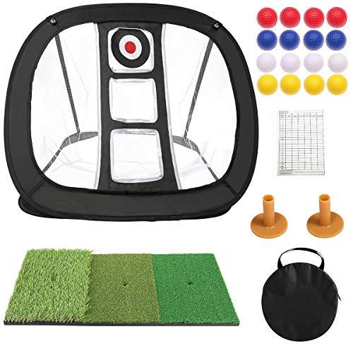 Golf Chipping Net Pop Up Golf Net for Indoor Use Golf Practice Net for Backyard Golf Training Net Golf Net Target with Mat Golf Accessories for Women/Men