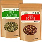 Yamees Dried Vegetables - Dried Red Bell Pepper and Dried Green Bell Pepper - Dehydrated Vegetables - 2 Pack of 8 Ounces Each