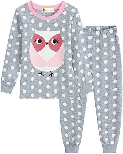 MOLYHUA Baby Eulen Schlafanzug Mädchen Lang Pyjama Nachtwäsche 92 98 104 110 116 122