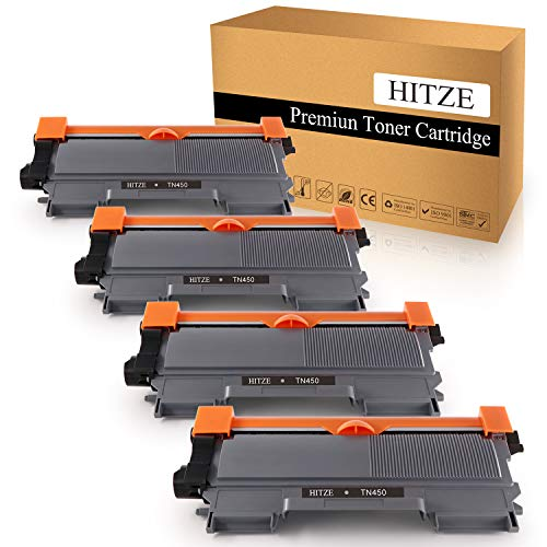 HITZE Compatible Toner Cartridge Replacement for Brother TN450 TN-450 TN420 TN-420 for Brother HL-2270DW MFC-7860DW MFC-7365DN DCP-7060D HL-2280DW MFC-7360N HL-2240 (Black, 4 Pack, High Yield)