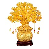 Garneck Feng Shui Citrine Money Tree Natural Crystal Bonsai Style Money Tree Lucky Tree Feng Shui Money Tree with Wealth Coins for Tabletop Decoration Home Office Store