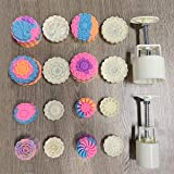 Barelove Bath Bombs Moon Cake Molds Kit, with 8 PCS 3D Thick Floral Shaped Stamps for 2 Sets, Mid-Autumn Festival Decoration Pastry Cookie Soap Hand-Pressure Mooncake Maker Cutter Tools Set (50g+100g)