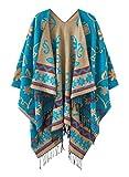 Women's Fashionable Retro Style Vintage Pattern Tassel Poncho Shawl Cape (Series1-blue)