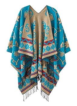 Women s Fashionable Retro Style Vintage Pattern Tassel Poncho Shawl Cape  Series1-blue