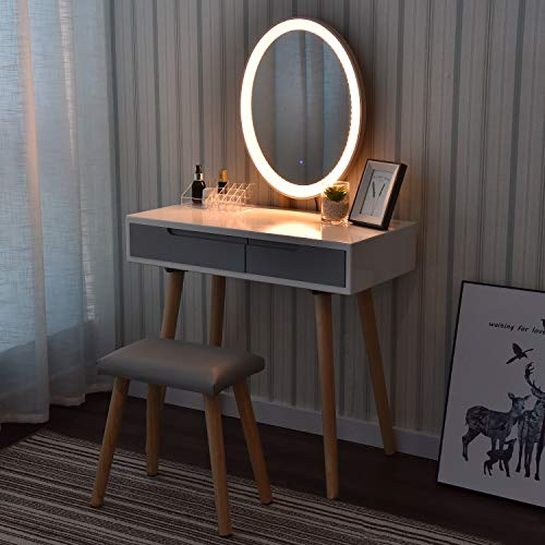 ARTETHYS Dressing Table, Vanity Makeup Table Set with Adjustable Brightness Mirror & Cushioned Stool, 2 Drawers and Makeup Organizer, Oval(White & Grey)