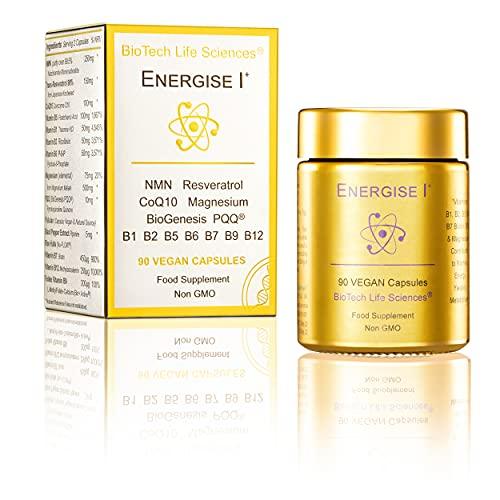 90 caps NMN Resveratrol CoQ10 Magnesium Vitamins B1 B2 B5 B6 B7 B9 B12 Energise-1 Skin Nails Bones Hair Color & Thickness (E1 90)