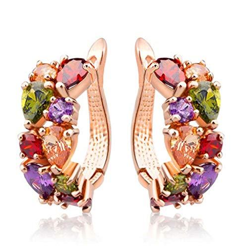 T.Hoow Crystal zircon oído hebilla moda oro rosa pendientes zircon oído joyería