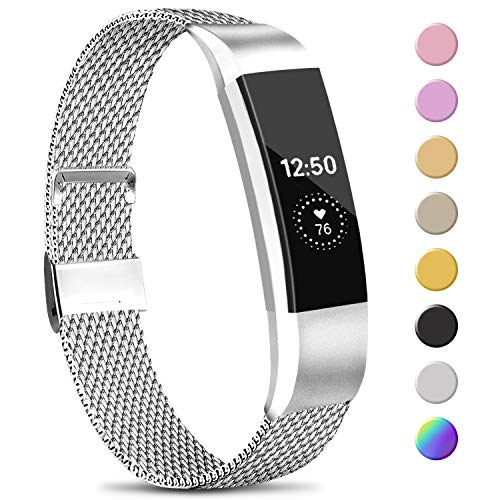 Amzpas Kompatible Für Fitbit Alta HR Armband/Fitbit Alta Armband, Metall Edelstahl Ersatzarmband Kompatibel mit Fitbit Alta HR/Fitbit Alta (S, 01 Silber)