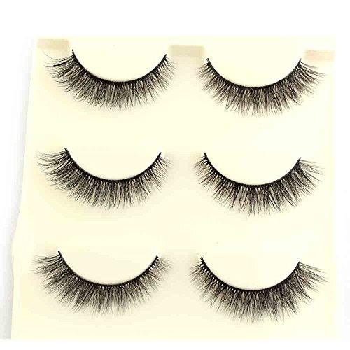 Faux Cils 3D Naturel,3 Pairs RéUtilisable Faux Cils Cils Fait à La Main Naturel Ultra-Minces ÉPais Charmant Longue Volum Eye Lashes Pour Maquillage (1cm-1.5cm, Noir)